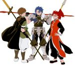 3boys asaya_minoru bangs black_footwear black_gloves black_pants blue_hair brown_cape brown_hair cape chinese_clothes closed_mouth cu_chulainn_(fate/prototype) eyebrows_visible_through_hair fate/extra fate/grand_order fate/prototype fate_(series) gae_bolg gauntlets gloves green_shirt hair_between_eyes hand_on_hip hands_up hector_(fate/grand_order) holding holding_lance lance li_shuwen_(fate) long_hair long_sleeves low_ponytail male_focus multiple_boys over_shoulder pants parted_lips polearm ponytail red_eyes redhead shirt short_sleeves simple_background single_gauntlet single_glove smile standing v-shaped_eyebrows weapon weapon_over_shoulder white_background white_pants
