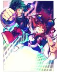 1boy 1girl belt bodysuit boku_no_hero_academia brown_hair building clenched_hands dekucha_kawaii floating freckles goggles goggles_on_head green_hair long_hair midoriya_izuku outside_border shoes skyscraper smile sneakers superhero uraraka_ochako