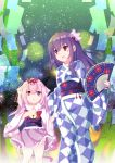 2girls :d :o absurdres animal_ears azur_lane bell blush bow cat_ears cat_girl cat_tail checkered checkered_kimono commentary_request crossover fan fingernails folding_fan frilled_kimono frills fur_collar hair_bow hair_ornament hair_ribbon hands_up highres holding holding_fan japanese_clothes jingle_bell kantai_collection kimono kisaragi_(azur_lane) kisaragi_(kantai_collection) long_hair long_sleeves multiple_girls namesake nekoyanagi_(azelsynn) obi open_mouth parted_lips pink_hair pink_kimono print_bow purple_hair red_bow red_eyes red_ribbon ribbon sash short_kimono sidelocks smile star star_print tail very_long_hair violet_eyes wide_sleeves