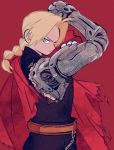 1boy automail blonde_hair commentary edward_elric english_commentary fullmetal_alchemist male_focus red_background serious simple_background
