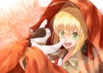 1girl :d animal bangs blonde_hair blurry blurry_background brown_shirt cat cloak collarbone collared_shirt commentary_request depth_of_field eyebrows_visible_through_hair fate/extra fate_(series) green_eyes hair_between_eyes hair_intakes holding holding_animal holding_cat looking_away nero_claudius_(fate) nero_claudius_(fate)_(all) open_mouth orange_cloak round_teeth shirt sidelocks smile solo teeth upper_teeth utayoi_(umakatare)
