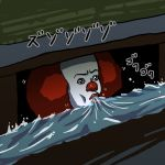 1boy clown clown_nose drinking it_(stephen_king) o_imotarou open_mouth pennywise redhead solo