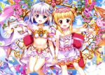 2girls :d above_clouds absurdres bare_shoulders blonde_hair blue_eyes blue_sky blush bracelet breasts cleavage collarbone copyright_request day double_bun dress earrings eyebrows_visible_through_hair eyes_visible_through_hair flower flower_necklace frilled_dress frills fujima_takuya gauntlets gem hair_ornament_request hand_holding head_wreath highres holding holding_staff interlocked_fingers jewelry keyhole knees_together_feet_apart layered_dress looking_at_viewer multiple_girls navel necklace official_art open_mouth outdoors outstretched_arm pearl_bracelet pink_earrings pink_flower pleated_skirt red_eyes revealing_clothes scan scrunchie short_hair silver_hair single_stripe sitting skirt sky sleeveless sleeveless_dress small_breasts smile staff tongue white_dress white_frills white_scrunchie white_skirt wrist_scrunchie yellow_frills yellow_stripe