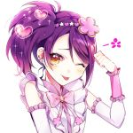 1girl ;p blush bow bowtie clenched_hand detached_sleeves dojikko_pose earrings flower frills hair_flower hair_ornament heart jewelry looking_at_viewer minori_(faddy) one_eye_closed pink_neckwear pripara purple_hair side_ponytail simple_background solo sparkle tongue tongue_out toudou_shion upper_body white_background yellow_eyes