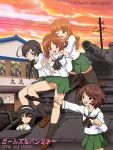 5girls akiyama_yukari anglerfish black_eyes black_hair breasts brown_eyes brown_hair clouds day evening girls_und_panzer ground_vehicle house hug isuzu_hana long_hair military military_vehicle motor_vehicle multiple_girls nishizumi_miho nolia ooarai_school_uniform orange_eyes orange_hair panties panzerkampfwagen_iv reizei_mako short_hair sky smile takebe_saori tank underwear