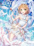 1girl :d bird blonde_hair blue_sky blush card_captor_sakura card_captor_sakura_clear_card cherry_blossoms crown dress eyebrows_visible_through_hair feathered_wings flower full_body gloves green_eyes holding holding_staff kinomoto_sakura looking_to_the_side open_mouth pink_flower pumps roang short_dress short_hair sky sleeveless sleeveless_dress smile solo staff symbol-shaped_pupils white_dress white_gloves white_wings wings