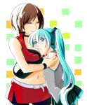 >:( 2girls ^_^ aqua_background aqua_hair belt black_shirt blue_eyes blush bracelet breast_press breast_smother breasts brown_hair cheek-to-breast choker closed_eyes closed_eyes closed_mouth couple cowboy_shot detached_sleeves eyebrows_visible_through_hair eyelashes female frown green_background grey_shirt hatsune_miku height_difference hug jewelry long_hair looking_at_another medium_breasts meiko multicolored multicolored_background multiple_girls mutual_yuri nail_polish orange_background red_nails red_skirt shirt shiseriyo short_hair simple_background skirt sleeveless sleeveless_shirt smile standing tank_top twintails upper_body vocaloid white_background yuri