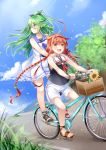 2girls :d ahoge bangs bare_arms bare_shoulders bicycle bicycle_basket black_ribbon black_shirt blue_neckwear blue_sailor_collar blue_sky blush braid brown_eyes clouds commentary_request day dress eyebrows_visible_through_hair fang flower green_eyes green_hair ground_vehicle hair_between_eyes hair_flaps hair_ornament hair_ribbon hairband highres kantai_collection kawakaze_(kantai_collection) long_hair looking_at_viewer looking_away looking_to_the_side low_twintails mashiro_aa multiple_girls multiple_riders neckerchief open_mouth outdoors petals redhead ribbon sailor_collar sailor_dress shirt short_shorts shorts sky sleeveless sleeveless_dress sleeveless_shirt smile standing sunflower twin_braids twintails very_long_hair white_dress white_hairband white_sailor_collar white_shorts yamakaze_(kantai_collection) yellow_flower