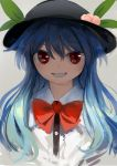 1girl bangs black_hat blue_hair bow food fruit grin hair_between_eyes hat hinanawi_tenshi leaf long_hair looking_at_viewer peach red_bow red_eyes red_neckwear smile solo straight_hair suna_(s73d) teeth touhou