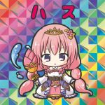 1girl :o bangs bikkuriman_(style) blush character_name chibi dress eyebrows_visible_through_hair flower_knight_girl hair_between_eyes hasu_(flower_knight_girl) holding long_hair low_twintails parted_lips pink_footwear pink_hair rinechun solo standing tiara twintails very_long_hair violet_eyes water white_dress