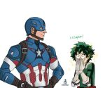 2boys avengers bodysuit boku_no_hero_academia captain_america crossover deku freckles gloves green_bodysuit green_hair marvel midoriya_izuku multiple_boys pencilhead7 red_footwear steve_rogers superhero u.a._school_uniform white_gloves