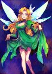 1girl blonde_hair blue_eyes breasts cleavage commentary_request dress fairy_wings flower green_dress hair_flower hair_ornament kara_(color) long_hair megami_tensei pointy_ears shin_megami_tensei solo titania_(megami_tensei) wings