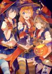 2016 3girls absurdres bangs blue_eyes blue_hair blush commentary eyebrows_visible_through_hair fingerless_gloves gloves grey_hair halloween hat highres jack-o'-lantern kousaka_honoka lanlanlu_(809930257) long_hair looking_at_viewer love_live! love_live!_school_idol_festival love_live!_school_idol_project minami_kotori multiple_girls navel one_eye_closed open_mouth pointing pointing_at_viewer pumpkin skirt smile sonoda_umi striped striped_legwear thigh-highs trick_or_treat witch witch_hat yellow_eyes