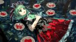 1girl bangs bare_arms dress front_ponytail green_eyes green_hair hair_ribbon hands_together highres kagiyama_hina long_hair open_mouth partially_submerged red_ribbon ribbon solo suna_(s73d) touhou water