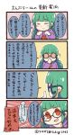 0_0 1girl 4koma adjusting_eyewear bangs blue-framed_eyewear blunt_bangs braid closed_eyes comic commentary_request drawstring emphasis_lines glasses green_hair hand_on_own_chin hood hood_down hoodie index_finger_raised logo long_sleeves no_eyewear personification print_hoodie purple_hoodie red_eyes round_eyewear shaded_face solo sparkle spoken_person translation_request tsukigi tumblr twin_braids twitter-san twitter-san_(character) twitter_username v-shaped_eyebrows