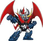 chibi clenched_hands looking_to_the_side lowres mazinger_(series) mazinkaiser mazinkaiser_(robot) mecha mechanical_wings no_humans official_art science_fiction solo super_robot super_robot_wars super_robot_wars_x transparent_background wings yellow_eyes