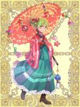 1girl blue_kimono brown_footwear chains earrings flower full_body gloves green_eyes green_hair hair_flower hair_ornament hakama japanese_clothes jewelry kerberos_blade kimono official_art oriental_umbrella over_shoulders pink_gloves r_gray11 shoes short_hair solo standing striped striped_kimono umbrella wide_sleeves