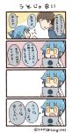 0_0 1boy 1girl 4koma :d :o artist_name bangs black_hair blue_hair blue_shirt collared_shirt comic commentary_request eyebrows_visible_through_hair holding labcoat open_mouth personification ponytail shirt short_ponytail smile translation_request tsukigi twitter twitter-san twitter-san_(character) twitter_username yellow_eyes