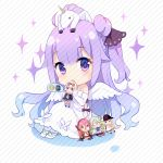 1girl ahoge azur_lane bangs bare_shoulders black_bow black_ribbon blonde_hair blue_eyes blush bogue_(azur_lane) bow character_doll character_request chibi coin diagonal-striped_background diagonal_stripes doll dollar_sign dress drum_(container) elbow_gloves eyebrows_visible_through_hair glasses gloves green_hair hair_between_eyes hair_bun hair_ribbon halterneck holding holding_doll langley_(azur_lane) looking_at_viewer on_head opaque_glasses pantyhose parted_lips purple_hair red_eyes redhead ribbon shoes side_bun silver15 sitting solo sparkle striped striped_background stuffed_animal stuffed_pegasus stuffed_toy stuffed_unicorn unicorn_(azur_lane) violet_eyes white_dress white_footwear white_gloves white_legwear white_wings wings
