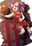 1girl ahoge arm_warmers bangs bare_shoulders basketball brick_wall green_eyes highres houston_(azur_lane) houston_rockets jersey jumping logo national_basketball_association nike open_mouth parted_bangs pink_hair shoes short_hair short_twintails shorts sleeveless sneakers socks solo sportswear sweat twintails yakkuro