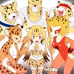 3boys 3girls absurdres apollo_(cheetahmen) aries_(cheetahmen) bangs bare_arms bare_shoulders black_eyes breasts brown_hair cheetah_(dc) cheetah_(kemono_friends) cheetah_boy cheetah_ears cheetah_girl cheetah_print cheetah_tail cheetahmen cheetara claw_pose claws cleavage closed_mouth collarbone collared_shirt commentary crossover dc_comics dress_shirt elbow_gloves english_commentary erect_nipples fangs flying_sweatdrops frown furrowed_eyebrows furry gloves gradient_hair hand_on_hip headband hercules_(cheetahmen) highres kemono_friends large_breasts leotard long_hair looking_at_viewer miniskirt multicolored_hair multiple_boys multiple_girls muscle necktie open_mouth orange_hair orange_leotard own_hands_together pleated_skirt polearm print_gloves print_legwear print_neckwear print_skirt red_eyes roger_i.s. scared shirt short_hair short_sleeves skirt spotted_hair streaked_hair sweat thigh-highs thundercats trait_connection two-tone_hair very_long_hair wavy_mouth weapon whiskers white_shirt wing_collar zettai_ryouiki