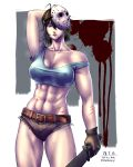 1girl abs arm_up belt borrowed_design breasts brown_gloves cleavage collarbone crop_top cutoffs erect_nipples friday_the_13th genderswap genderswap_(mtf) gloves highres hockey_mask holding holding_weapon jason_voorhees large_breasts machete mask mask_on_head mask_over_one_eye muscle muscular_female navel no_bra off_shoulder scratches short_hair solo stomach sweat taikyokuturugi taut_clothes thighs weapon