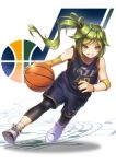 1girl ahoge arm_warmers bare_shoulders basketball bracelet full_body green_eyes green_hair grin jersey jewelry leg_warmers logo long_hair musical_note national_basketball_association salt_lake_city_(azur_lane) shoes shorts side_ponytail sleeveless smile sneakers socks solo sportswear staff_(music) sweatband utah_jazz yakkuro