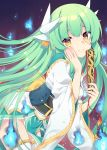 1girl blush breasts dragon_girl dragon_horns fan fate/grand_order fate_(series) green_hair hair_ribbon hand_on_own_cheek heart heart-shaped_pupils highres holding holding_fan horns japanese_clothes kiyohime_(fate/grand_order) large_breasts long_hair looking_at_viewer ribbon sash smile solo symbol-shaped_pupils thigh-highs toko_yoshi twintails white_legwear yellow_eyes
