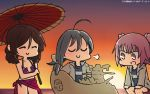 3girls :d =3 ^_^ ahoge bikini brown_hair closed_eyes closed_eyes cosplay dated grey_hair hamu_koutarou harukaze_(kantai_collection) highres holding holding_umbrella jacket kantai_collection kiyoshimo_(kantai_collection) kunashiri_(kantai_collection) long_hair long_sleeves multiple_girls one-piece_swimsuit open_mouth oriental_umbrella pink_hair purple_bikini scathach_(fate/grand_order) scathach_(swimsuit_assassin)_(fate) scathach_(swimsuit_assassin)_(fate)_(cosplay) short_hair smile swimsuit two_side_up uchuu_senkan_yamato umbrella v-shaped_eyebrows white_jacket yellow_eyes