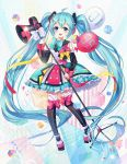 1girl 39 absurdly_long_hair ahoge aqua_eyes aqua_hair balloon cube detached_sleeves eyebrows_visible_through_hair full_body hatsune_miku headphones highres long_hair looking_at_viewer megaphone microphone_stand open_mouth skirt solo thigh-highs twintails very_long_hair vocaloid