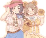 2girls 7010 :d animal_ears bangs bear_ears bear_paws belt black_hair blush breasts brown_eyes brown_hair commentary_request ebihara_naho eyebrows_visible_through_hair fang flower gloves green_eyes hair_flower hair_ornament hat idolmaster idolmaster_cinderella_girls large_breasts long_hair looking_at_viewer mimura_kanako multiple_girls open_mouth paw_gloves paws short_hair short_sleeves skirt smile witch_hat