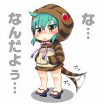 1girl afterimage aqua_hair bangs blush crossed_bangs eyebrows_visible_through_hair full_body hair_between_eyes hands_in_pockets hinotama_(hinotama422) hood hood_up hoodie kemono_friends long_sleeves looking_at_viewer no_nose open_mouth pink_ribbon ribbon simple_background snake_tail solo standing striped_tail tail tail_wagging translated tsuchinoko_(kemono_friends) white_background yellow_eyes