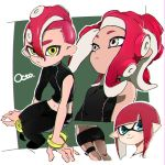 1boy 2girls :> asymmetrical_sleeves bare_shoulders black_pants black_skirt blue_eyes dark_skin domino_mask esu_(transc) grey_eyes inkling mask midriff multiple_girls octoling pants pencil_skirt pointy_ears redhead sitting skirt smile splatoon splatoon_2 splatoon_2:_octo_expansion tentacle_hair wristband yellow_eyes