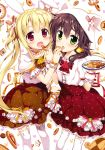 2girls :d :o absurdres animal_ears animal_print blonde_hair blush brown_frills brown_skirt bunny_print cat_ears cat_print choker collarbone copyright_request eyebrows_visible_through_hair feeding flat_chest floral_print flower food_request frilled_choker frilled_skirt frills fujima_takuya green_eyes hair_between_eyes hair_flower hair_ornament hair_ribbon hat hat_with_ears heart-shaped_food high-waist_skirt highres holding holding_plate layered_skirt looking_at_viewer low_twintails multiple_girls official_art open_mouth patterned_background pink_ribbon plaid plaid_choker plaid_ribbon plate polka_dot_skirt print_skirt puffy_short_sleeves puffy_sleeves rabbit_ears red_eyes red_flower red_frills red_ribbon red_rose red_skirt ribbon ribbon-trimmed_skirt ribbon_choker ribbon_trim rose scan shirt short_sleeves skindentation skirt smile thigh-highs tongue twintails white_background white_flower white_frills white_hat white_legwear white_polka_dots white_shirt white_wrist_cuffs wrist_cuffs yellow_choker yellow_flower yellow_ribbon yellow_rose