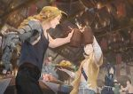 4girls 6+boys ^_^ alex_louis_armstrong alphonse_elric armor automail bald baraba_baba black_hair blonde_hair bowl braid candle chandelier chopsticks chopsticks_in_mouth closed_eyes closed_eyes edward_elric food fu_(fma) fullmetal_alchemist hands_together happy indoors izumi_curtis lan_fan ling_yao may_chang multiple_boys multiple_girls no_mouth open_mouth plate profile rice rice_bowl shirtless sig_curtis smile table toast_(gesture) upper_body winry_rockbell