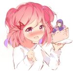 >_< 2girls :d ayadrevismad blush cake commentary doki_doki_literature_club english_commentary food hair_ornament hairclip in_food minigirl multiple_girls natsuki_(doki_doki_literature_club) open_mouth pink_eyes pink_hair plate simple_background sketch smile spoon two_side_up upper_body white_background yuri_(doki_doki_literature_club)