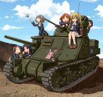 6+girls black_hair blonde_hair brown_eyes brown_hair bug butterfly caterpillar_tracks clouds day emblem girls_und_panzer glasses ground_vehicle insect long_hair m3_lee maruyama_saki military military_uniform military_vehicle mokera_(mokeroom) motor_vehicle multiple_girls ooarai_(emblem) ooarai_military_uniform oono_aya sakaguchi_karina sawa_azusa short_hair skirt sky smile tank twintails uniform utsugi_yuuki yamagou_ayumi
