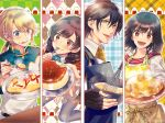 1boy 3girls :d apron argyle argyle_background arms_up black_gloves blue_eyes blue_neckwear brown_eyes brown_hair character_request earrings eating fingerless_gloves food food_request gloves grey_legwear hair_between_eyes hair_ornament hairclip holding holding_plate holding_spoon isekai_omotenashi_gohan jewelry long_hair medium_hair mixing_bowl multiple_girls official_art omurice onigiri open_mouth plaid plaid_background plate ponytail pudding red_eyes smile sparkle spoon watermark wavy_mouth whisk yukikana
