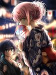1boy 1girl alternate_costume banana bangs black_hair blue_eyes blurry blurry_background breasts commentary_request couple darling_in_the_franxx eyebrows_visible_through_hair fan festival flag floral_print food fruit green_eyes grey_kimono herozu_(xxhrd) hetero hiro_(darling_in_the_franxx) holding holding_fan holding_food horns japanese_clothes kimono lantern_festival long_hair looking_at_another medium_breasts night night_sky obi oni_horns pink_hair purple_kimono red_horns sash short_hair sky star star_(sky) starry_sky striped striped_kimono wide_sleeves yukata zero_two_(darling_in_the_franxx)