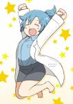 1girl \o/ arms_up bangs barefoot black_skirt blue_hair blue_shirt blush_stickers clenched_hands closed_eyes collared_shirt commentary_request jumping labcoat long_sleeves outstretched_arms pencil_skirt ponytail shirt short_ponytail sidelocks skirt solo star starry_background tsukigi twitter twitter-san twitter-san_(character)