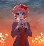 1girl :d artist_name blue_eyes bow clouds cloudy_sky commentary doki_doki_literature_club english_commentary eyebrows_visible_through_hair hair_between_eyes hair_bow heart heart_hands looking_at_viewer open_mouth pink_hair red_bow savi_(byakushimc) sayori_(doki_doki_literature_club) school_uniform short_hair sky smile solo upper_body