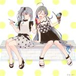 2girls ahoge alternate_costume brown_eyes casual closed_eyes colis commentary_request food full_body grey_hair hair_ribbon ice_cream ice_cream_cone ice_cream_spoon kantai_collection kasumi_(kantai_collection) kiyoshimo_(kantai_collection) long_hair multiple_girls polka_dot polka_dot_background polka_dot_skirt ribbon side_ponytail sitting spoon white_background