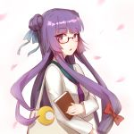 1girl absurdres alternate_costume bag bangs bespectacled blue_ribbon blunt_bangs blush book bow breasts commentary_request crescent crescent_moon_pin double_bun eyebrows_visible_through_hair glasses hair_bow hair_ribbon highres holding holding_book long_hair long_sleeves looking_at_viewer no_hat no_headwear parted_lips patchouli_knowledge petals purple_hair purple_neckwear red-framed_eyewear red_bow ribbon sailor_collar school_uniform serafuku sidelocks simple_background small_breasts sndbr solo touhou upper_body very_long_hair white_background white_serafuku