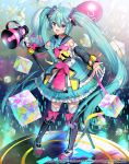 1girl :d ahoge aqua_eyes aqua_hair artist_name balloon bow bow_legwear bowtie cube detached_sleeves dress full_body hair_between_eyes hatsune_miku itamidome long_hair magical_mirai_(vocaloid) megaphone microphone_stand open_mouth outstretched_arms pigeon-toed sailor_collar smile solo spread_arms standing thigh-highs twintails very_long_hair vocaloid