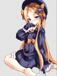 1girl abigail_williams_(fate/grand_order) bangs barefoot black_bow black_dress black_hat blonde_hair bloomers blue_eyes blush bow checkered checkered_background closed_mouth commentary_request dress eyebrows_visible_through_hair fate/grand_order fate_(series) forehead hair_bow hand_up hat head_tilt l-trap long_hair long_sleeves looking_at_viewer looking_to_the_side nose_blush orange_bow parted_bangs polka_dot polka_dot_bow sleeves_past_fingers sleeves_past_wrists smile soles solo underwear very_long_hair white_bloomers
