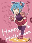 1girl :d alternate_hairstyle animal_ears bangs bat bell blue_hair blush_stickers cat_ears commentary_request crop_top eyebrows_visible_through_hair fake_animal_ears fang full_body gloves hair_ribbon hairband halloween happy_halloween heart jack-o'-lantern jingle_bell looking_at_viewer miniskirt navel nyan open_mouth outline paw_boots paw_gloves paws personification pink_skirt purple_legwear purple_shirt ribbon shirt short_twintails sidelocks signature skirt sleeveless sleeveless_shirt smile solo standing standing_on_one_leg tail thigh-highs tsukigi twintails twitter twitter-san twitter-san_(character) white_outline yellow_eyes