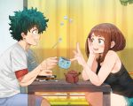 1boy 1girl :d arm_support bangs bare_arms bare_shoulders black_camisole blush_stickers boku_no_hero_academia book brown_eyes brown_hair camisole cup curtains floating freckles from_side green_eyes green_hair hand_on_own_cheek hand_rest hand_up head_rest highres holding holding_cup index_finger_raised indoors justin_leyva_(steamy_tomato) looking_up medium_hair messy_hair midoriya_izuku open_mouth parted_bangs scar shirt short_hair short_sleeves shorts sidelocks sitting smile spoon sugar_cube table teapot upper_body uraraka_ochako white_shirt