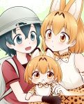 3girls :< animal_ears backpack bag bib black_gloves blue_eyes blue_hair blush closed_mouth elbow_gloves eyebrows_visible_through_hair gloves helmet kaban_(kemono_friends) kemono_friends looking_at_another looking_at_viewer migu_(migmig) multiple_girls open_mouth orange_eyes orange_hair parted_lips pith_helmet red_shirt serval_(kemono_friends) serval_ears shirt short_hair smile white_gloves