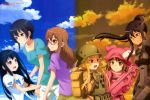 6+girls :d absurdres backpack bag black_bodysuit black_hair blonde_hair blue_shirt blue_sky bodysuit braid brown_eyes brown_gloves brown_hair bullpup clouds collarbone dark_skin facial_mark floating_hair fukaziroh_(sao) gloves green_pants gun hat helmet high_ponytail highres holding holding_gun holding_weapon kanzaki_elsa kohiruimaki_karen llenn_(sao) long_hair multiple_girls official_art open_mouth p90 pants pink_gloves pink_hat pitohui_(sao) purple_shirt rectangular_eyewear red-framed_eyewear rifle shinohara_miyu_(sao) shirt short_sleeves side_braid sidelocks single_braid sky smile submachine_gun sword_art_online sword_art_online_alternative:_gun_gale_online tattoo weapon white_pants white_shirt yoshita_michiko
