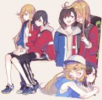 2girls baseball_cap black_hair blonde_hair blue_eyes blush character_request commentary_request copyright_request hat hood hooded_track_jacket hug hug_from_behind jacket milk_puppy multiple_girls shorts sitting sitting_on_lap sitting_on_person track_jacket violet_eyes yuri